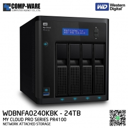 WD 24TB My Cloud Pro Series PR4100 4-Bay Network Attached Storage - WDBNFA0240KBK-SESN