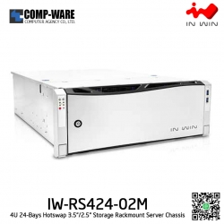 In Win Rackmount Server Chassis IW-RS424-02M 4U 24-Bays, 500W fixed supply, slide rail