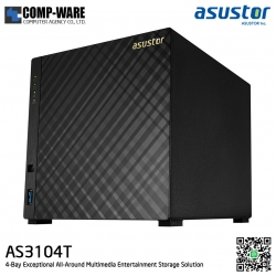 Asustor (4-Bay) AS3104T Intel Celeron 1.6GHz 2GB RAM Personal Cloud to Home NAS - 3 Years Warranty