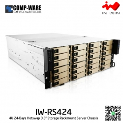 In Win Rackmount Server Chassis IW-RS424 4U 24-Bays, 800W Redundant supplies, slide rail