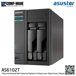 Asustor (2-Bay) AS6102T Intel Celeron 1.6GHz Dual-Core 2GB RAM Home NAS to Power User (30-100 user) 3 Years Warranty