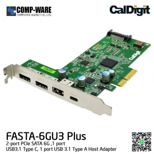 CalDigit FASTA-6GU3 Plus PCIe Card - Two USB 3.1 Type A/C & Two eSATA 6G Ports for Windows and Mac