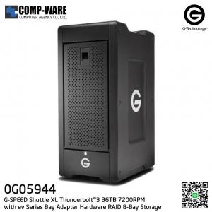 G-Technology G-SPEED Shuttle XL Thunderbolt™3 36TB 7200RPM with ev Series Bay Adapter Hardware RAID 8-Bay Storage Solution - 0G05944