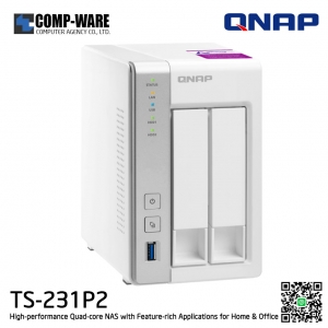 QNAP NAS (2-Bay) TS-231P2 (4GB RAM) High-performance Quad-core NAS with Feature-rich Applications for Home & Office