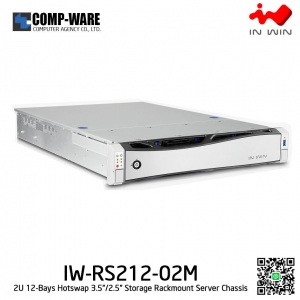 In Win Rackmount Server Chassis IW-RS212-02M-RP 2U 12-Bays, 800W Redundant supplies, slide rail Bezel