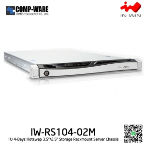 In Win Rackmount Server Chassis IW-RS104-02M-RP 1U 4-Bays, 750W Redundant supplies, slide rail, Bezel