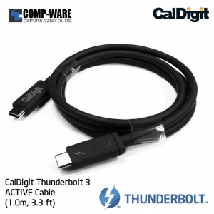 CalDigit Thunderbolt 3 ACTIVE Cable (1.0m, 3.3 ft) 40Gbps / 100W Charging / 5A / 20V [Certified] 2016 Macbook Pro Type-C Compatible