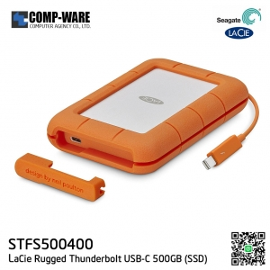 Seagate LaCie Rugged Thunderbolt USB-C 500GB SSD Portable Hard Drive STFS500400