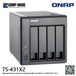 QNAP NAS (4-Bay) TS-431X2 (2GB RAM) High-performance Quad-core Business NAS with Built-in 10GbE SFP+ Port