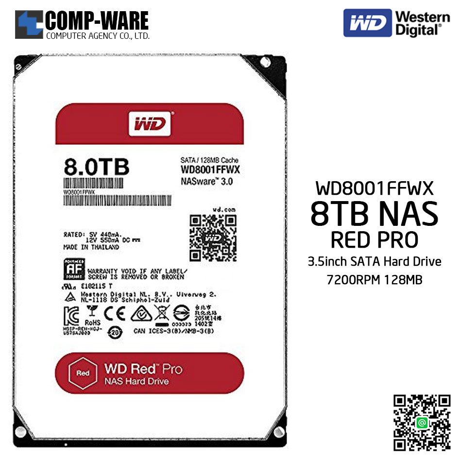 WD Red PRO 8TB NAS Hard Disk Drive - 7200RPM SATA 6Gb/s 128MB Cache 3 5Inch  - WD8001FFWX